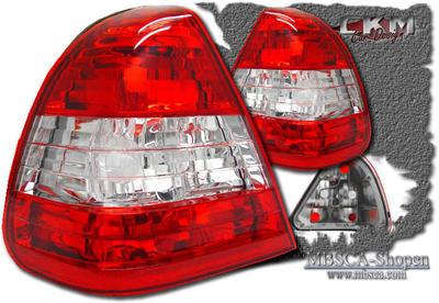 Klarglas Baklysen 2st Röd/Vit Utan dioder.