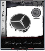 Centrumkåpa fälgar 1st MB Orginal svart med kromstjärna