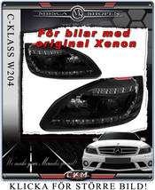 "Klarglas framlysen ""Devil eyes"" LED DRL Version 2 SVARTA 2st"