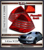 Klarglas facelift baklysen Red/Smoke. 2st