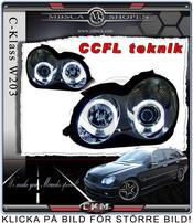 Klarglas projektor framlysen 2 st Angel Eys Krom CCFL