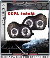 Klarglas projektor framlysen 2 st Angel Eys Svarta CCFL