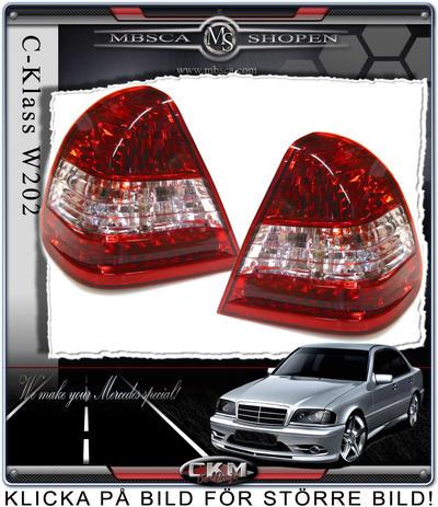 Klarglas Baklysen 2st Röd/klar Med dioder.