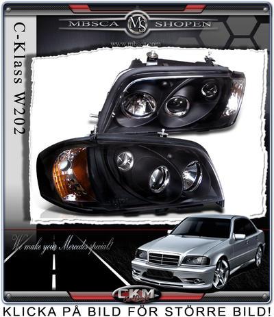 Klarglas framlysen 2st Svarta med integrerad blinkers.