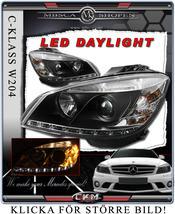 """Klarglas framlysen """"Devil eyes"""" LED DRL 2st SVARTA"""