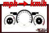 Mätartavlor mph till km/h 260km/h VITA FACELIFT