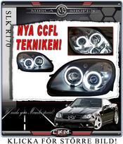Klarglas framlysen CCFL SVARTA Angel Eyes med blinkers 2st